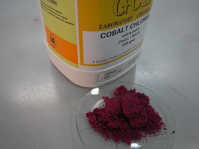 This is what turns cobalt chloride paper pink when wet!