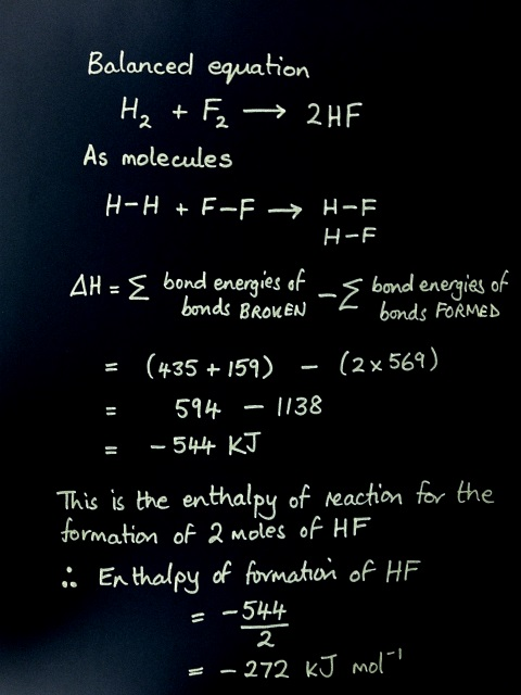 The bond energy approach to calculating an enthalpy change for a reaction