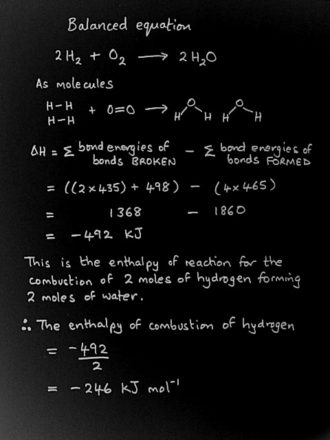 Calculating the enthalpy of combustion of hydrogen using bond energy values