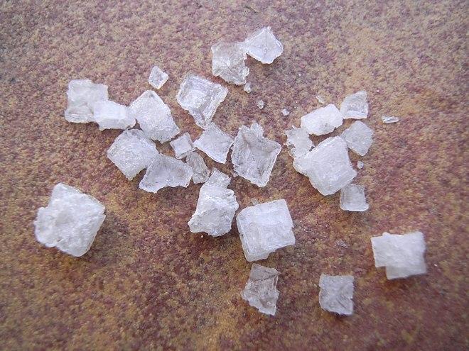 Sodium chloride crystals