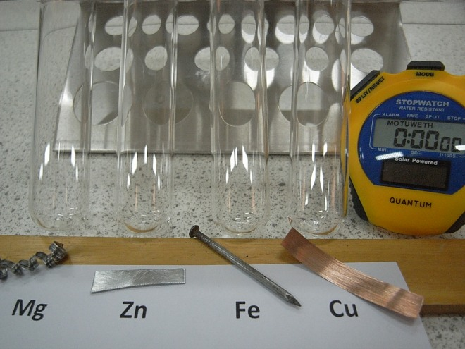 Four metals used at school to illustrate the reactivity series of metals