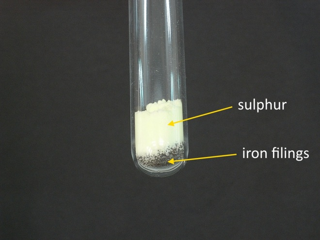 Iron filings and sulphur