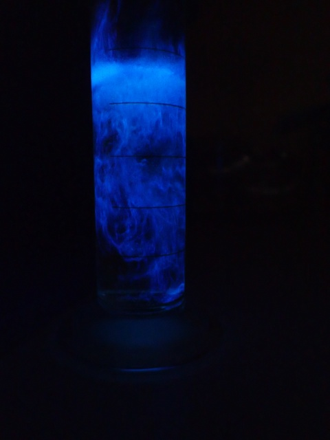 Luminol reaction in a measuring cylinder